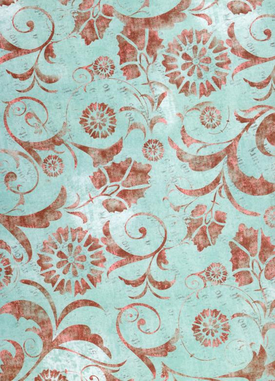 Free Stock Photo of Blue Red Floral Paper Created by Rachael Towne