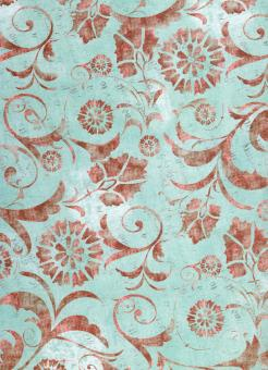 Blue Red Floral Paper - Free Stock Photo