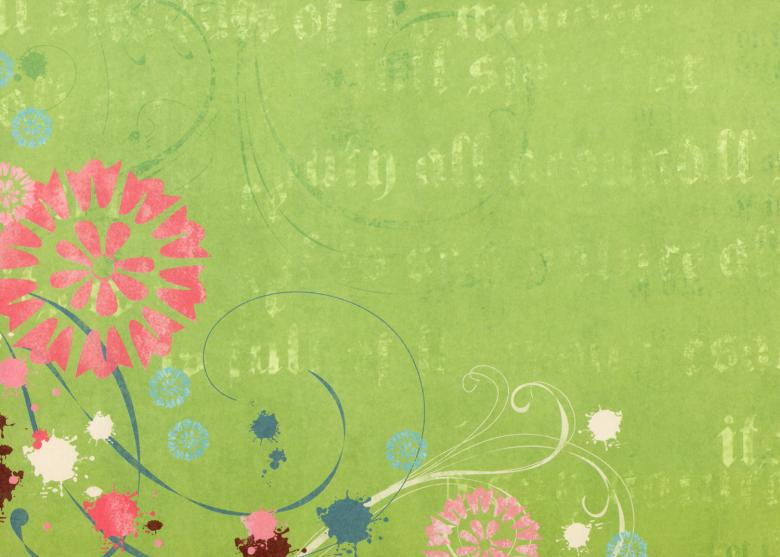 Free Stock Photo of Green Floral Paper Created by Rachael Towne