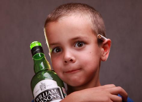 Boy and a bottle - Free Stock Photo