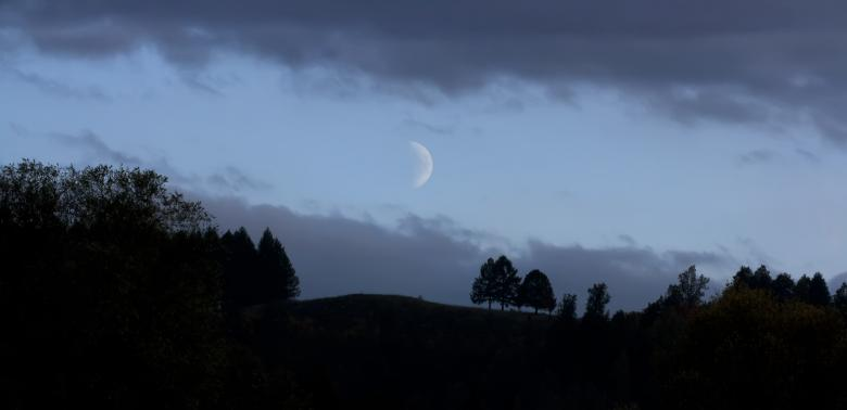 Moon in darkness Free Photo