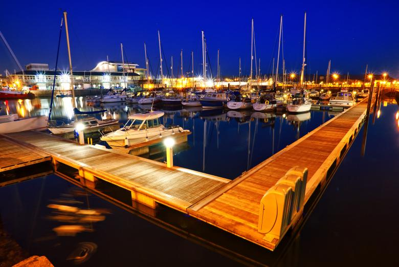 Docks at night Free Photo