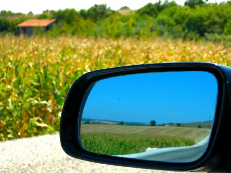 Car Mirror and Cornfield - Free Stock Photo