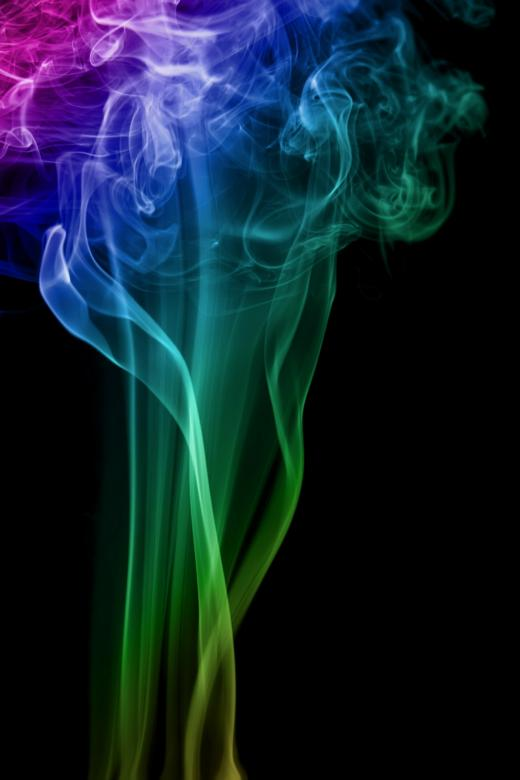 Free Stock Photo of Multicolor Smoke on Black Created by 2happy