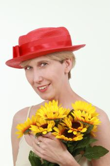 Woman with flowers - Free Stock Photo