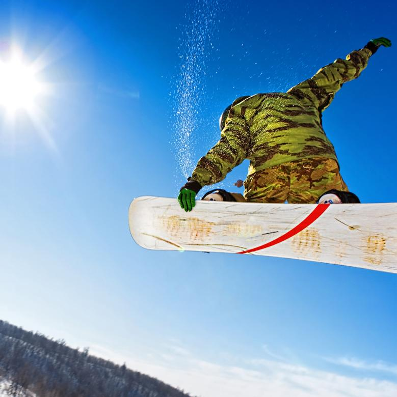 Free Stock Photo of Snowboarder jumping  Created by 2happy