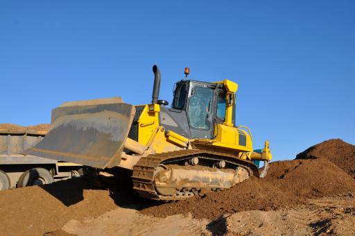 Bulldozer on worksite - Free Stock Photo