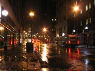 Downtown at night Free Photo
