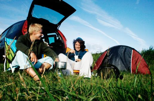 Two girl camping holiday - Free Stock Photo