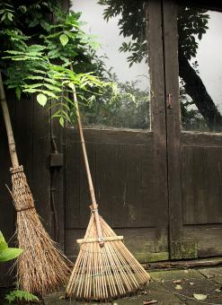 Broomsticks by a farm - Free Stock Photo