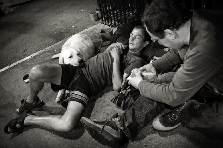 Free Stock Photo of Homeless men with dog Created by Merelize