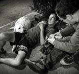 Free Photo - Homeless men with dog
