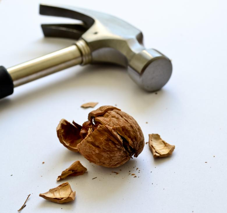 Free Stock Photo of Nice hammer with a walnut Created by Octavian