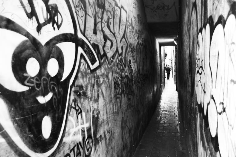 Small graffiti passage way - Free Urban Stock Photos