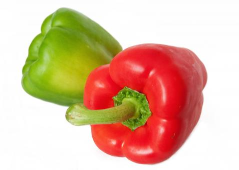 Red and green peppers/capsicum - Free Stock Photo