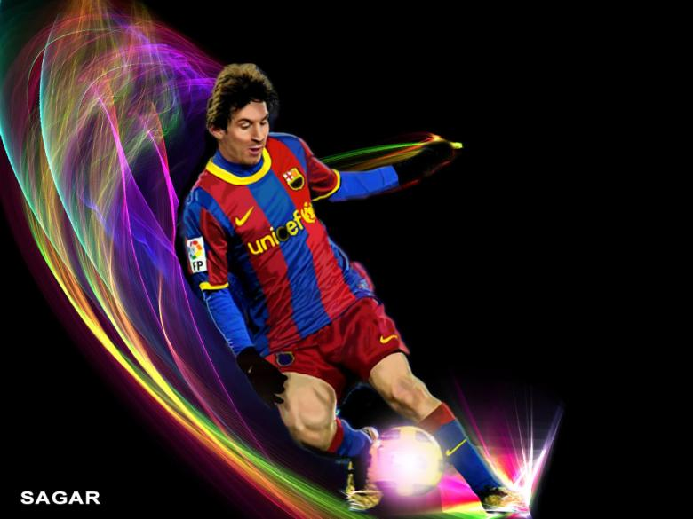 Free Stock Photo of Messi Playing football Wallpaper Created by Sagar Kumar