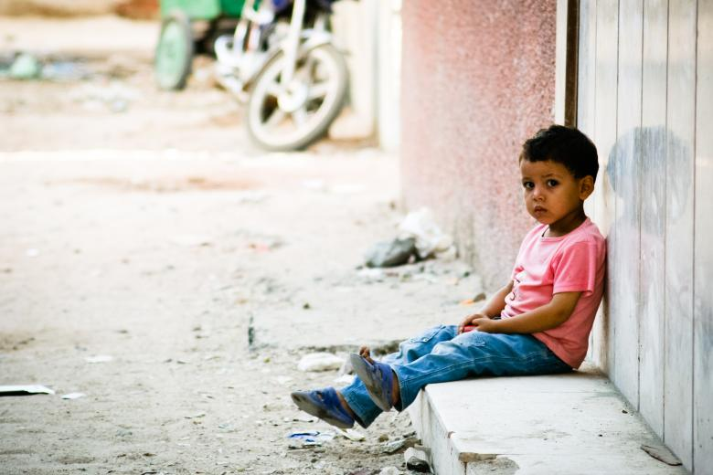 Free Stock Photo of Sad little boy waiting outside Created by Merelize