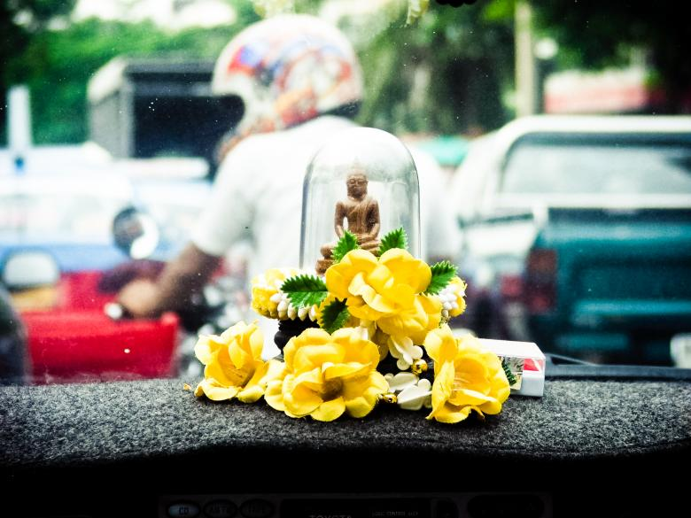 Free stock image of buddhist symbol in car Thailand created by Merelize