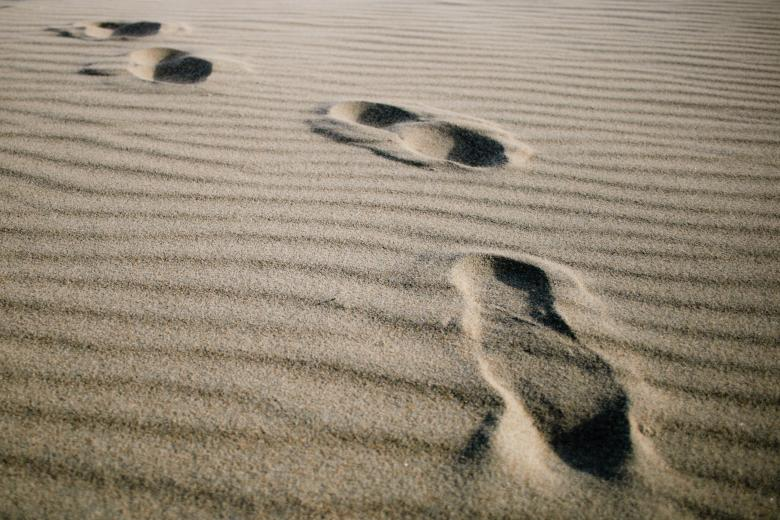 Free Stock Photo of Footprints on the beach Created by Merelize