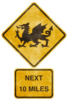 Crossing Road Grunge Sign - Welsh Dragon - Free Stock Photo