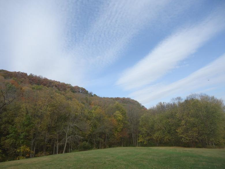 Free Stock Photo of Sky over effigy mounds Created by Yinan Chen