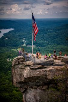 USA flag on top of cliff - Free Stock Photo