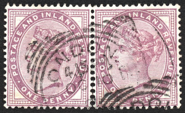 Free Stock Photo of Double Violet Queen Victoria Stamps Created by Nicolas Raymond