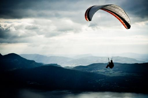 Paraglider in sky - Free Stock Photo