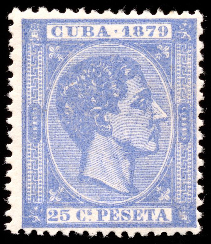 Free Stock Photo of Blue King Alfonso XII Stamp Created by Nicolas Raymond