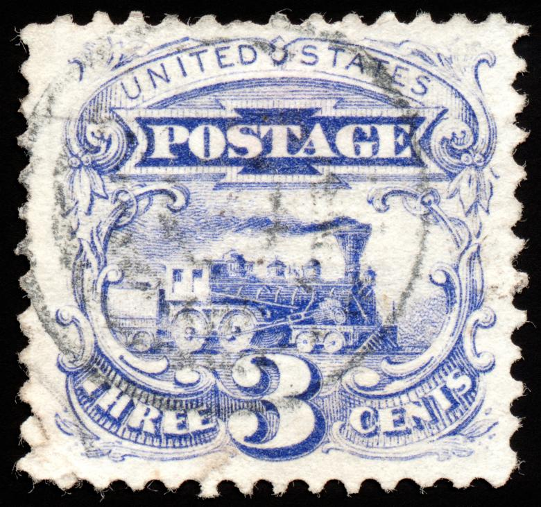 Free Stock Photo of Blue Locomotive Stamp Created by Nicolas Raymond