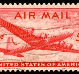 Free Photo - Red DC4 Skymaster Stamp