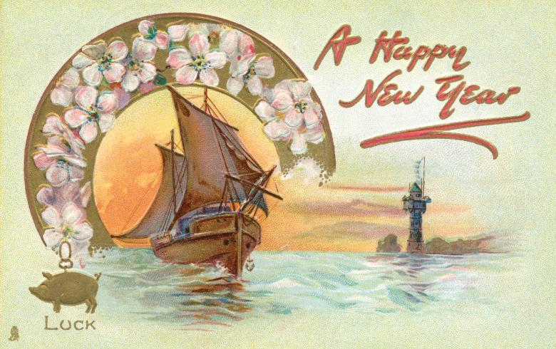 Free Stock Photo of Happy New Year Card - Circa 1908 Created by Nicolas Raymond