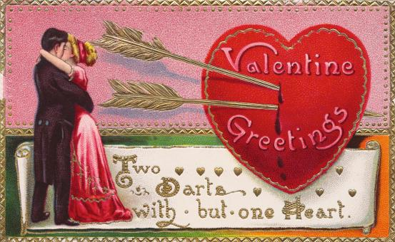 Valentine Greetings Card - Circa 1910s - Free Stock Photo