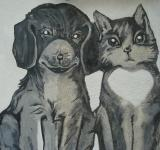 Free Photo - Cat and dog painting