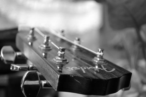 Acoustic guitar black/white - Free Stock Photo