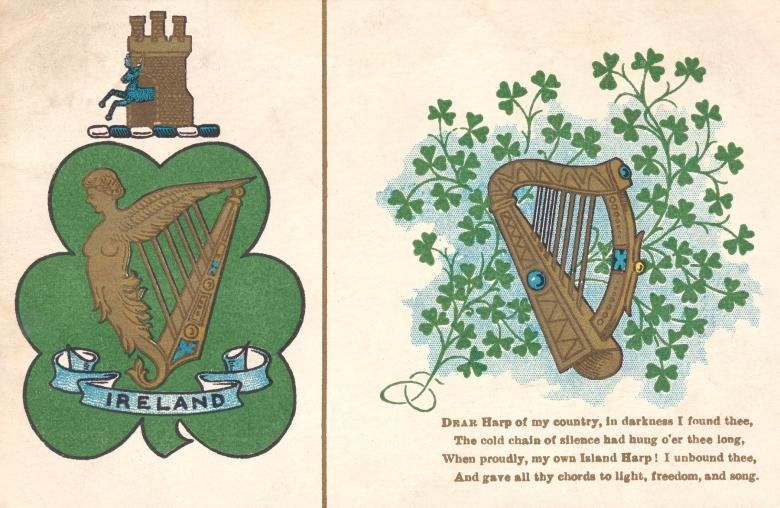 Free Stock Photo of Antique Ireland Harp Postcard Created by Nicolas Raymond