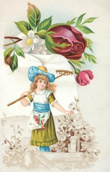 Victorian Trade Card - Gardening Girl - Free Stock Photo