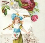 Free Photo - Victorian Trade Card - Gardening Girl
