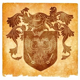 Double-Headed Eagle Grunge Emblem, Sepia - Free Stock Photo