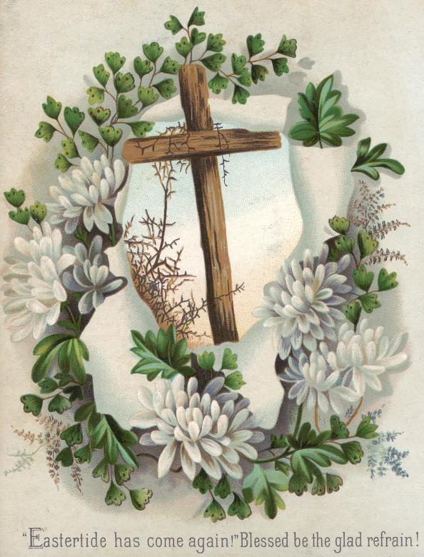 Victorian Greeting Card - Easter Cross Free Photo