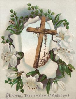 Victorian Greeting Card - Easter Cross - Free Stock Photo