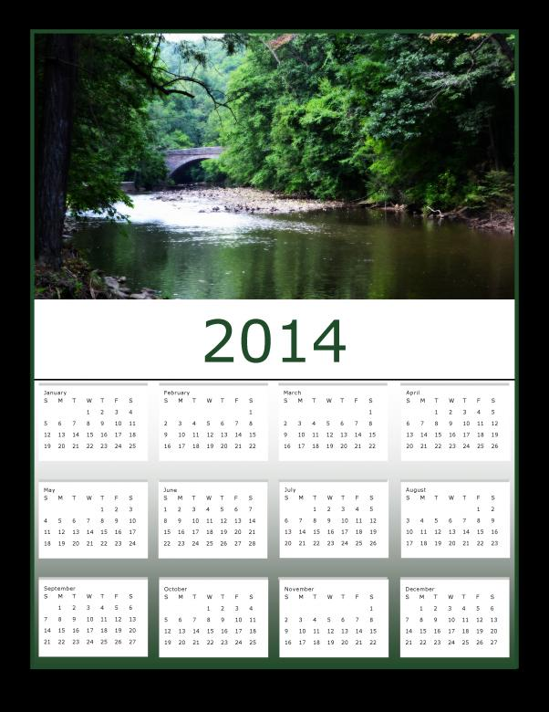 Free Stock Photo of View at Valley Green 2014 Calendar Created by Katrena Patterson