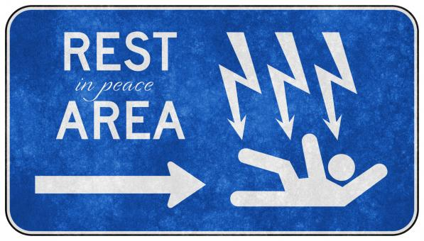 Grunge Road Sign - Rest in Peace Area - Free Stock Photo