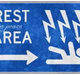 Free Photo - Grunge Road Sign - Rest in Peace Area