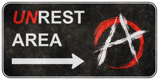 Grunge Road Sign - Unrest Area - Free Stock Photo