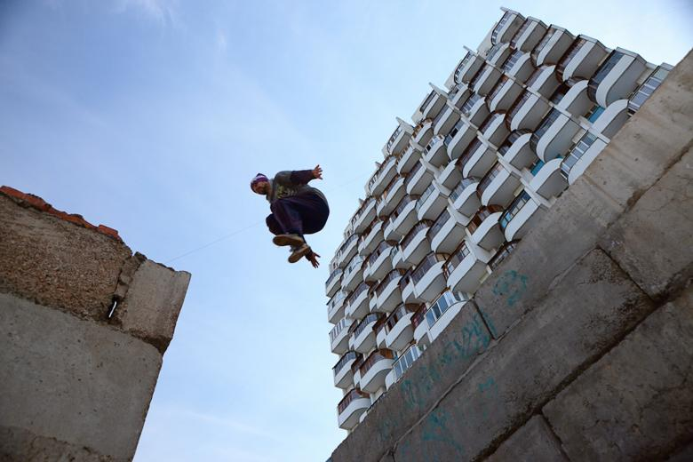 Free Stock Photo of urban flying man Created by skydie