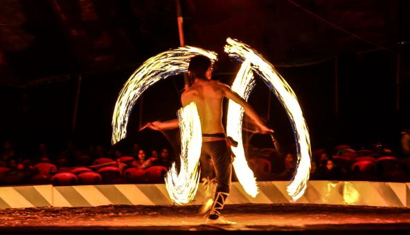 Fire acrobat - Free Stock Photo