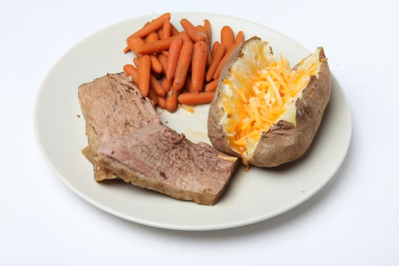 Free Stock Photo of Pot Roast, Carrots and Baked Potato Created by Jared Davidson