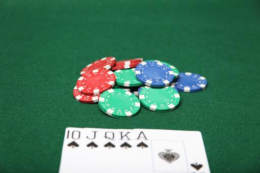Royal Flush with poker chips. - Free Stock Photo