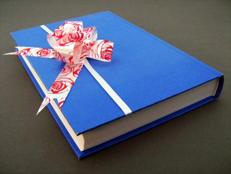 Blue book with bow - Free Stock Photo